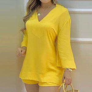 Women's Tracksuits Summer Casual Loose Sets Women Plain Bell Sleeve V-neck Long Top & Shorts Set Solid Streetewar Suit