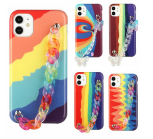 Wrist Grip Rainbow IMD TPU Case For Iphone 12 Pro 12 Mini Soft Colourful Cases For Iphone 11 XR XS MAX 8 7 6 Butterfly Back Cover Band Strap