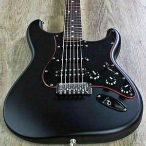 Top Calidad Precio Bajo FPST-1046 Mate Color Negro Matte Cuerpo Sólido Negro PickGuard con línea roja Guitarra eléctrica Freboard