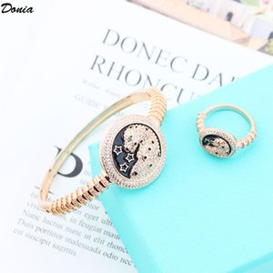 Donia jewelry party European and American fashion leopard head animal micro-inlaid zircon bracelet ring set designer bracelet ring set