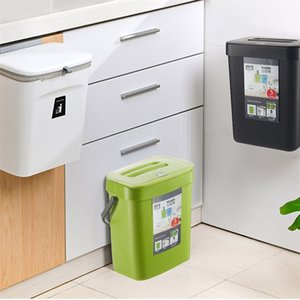 7L   9L Wall Mounted Trash Can Waste Bin Kitchen Cabinet Door Hanging Car Garbage Recycle Dustbin Rubbish Storage Tool 210907