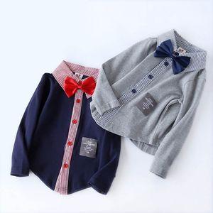Boys Shirts Kids Shirt Cotton Long Sleeve Bow Tie Casual Tops Spring Autumn Boys Clothes Kids Clothing T shirt 2-7Y B4170