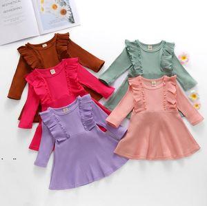 Girls Dresses Toddler Sweater Dress Baby Cotton Princess Dresses Infant Long-Sleeved Dress Newborn Boutique Clothing AHB5040