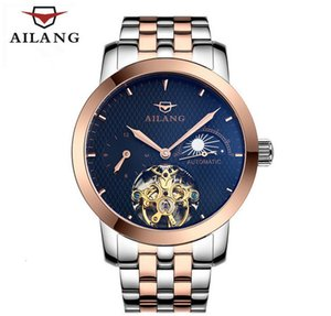 Luxo Ailang fogo homens tourbillon relógios automáticos auto-vento empresários pessoas pessoas relógios de relógio de pulso de aço completo blinds W070