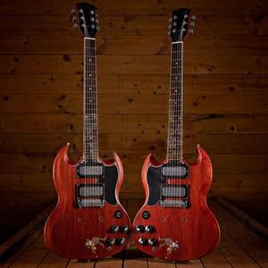 Ağır Relik Siyah Şabat Tony Iommi İmzalı Efsanevi Vintage Neşeli Kırmızı SG Maymun Elektro Gitar Krom Mini Pikaplar, Köprü Etrafında Sarma