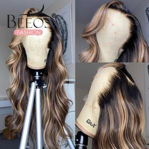 4/27 Highlight WIG Бразильский кузовной волна парик Оммре выделение кружева передние волосы волосы парики мед блондинка омбре кружево закрытие реми