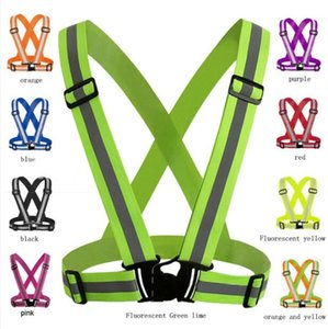 Adjustable Men Women Reflective Vest Safety Security Tape High Visibility Gear Stripes For Hiking Running Bicycle Walking 4x1.5cm