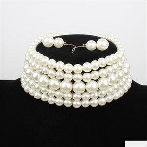 & Pendants Jewelrypearl Bead Beaded Necklaces Women Mtilayer White Red Choker Chain Aessories Collarbone Earring Suits Necklace Drop Deliver