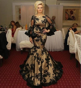 Champagne Black Lace Evening Dress Mermaid Appliques Long Sleeves Prom Gowns Satin Special Occasion Party Dresses 2021