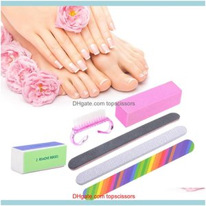 Kits Salon Health & Beauty6Pcs Manicure Kit Brush Durable Buffing Grit Sand Fing Art Aessories Sanding Nail Files Uv Gel Polish Tools Random