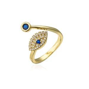 S2458 Fashion Jewelry Evil Eye Ring Women's Inlaid Zircon Opening Adjustable Blue Eyes Rings C3