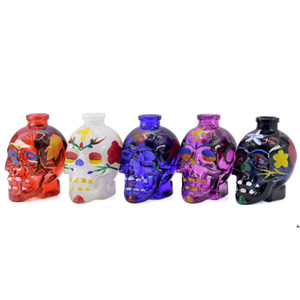 Hot selling multicolor Skull Glass Pipes Smoking pipe Flower Printing water pipe Smoking Accessories wholesale 5 colors EWF5046