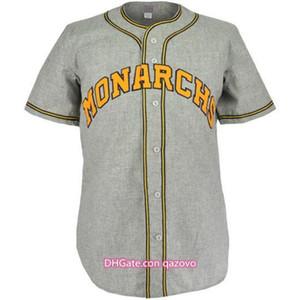 Cidade de KansasMonarchs 1945 estrada jersey 100% costurado bordados logotipos vintage beisebol jerseys personalizado todo nome qualquer número frete grátis