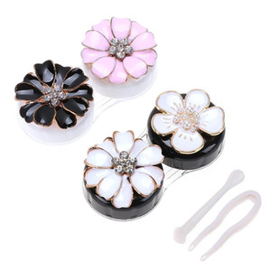 2 Pairs in 1 Set Beautiful Flower Shape Eye Lense Cases Contact Lens Holder Floral Design Storage Box Eye Care Container
