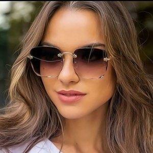 2020 Fashion Luxury Rimless Metal Hinge Frame Women Retro Square Gradient Sunglasses Brand Designer Uv400