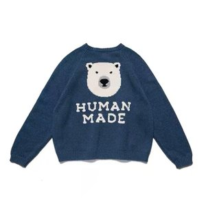 2021 Human Made Pullover Winter Cartoon Polar Bear Loose and Versatile Knitting Sweater Men and Women