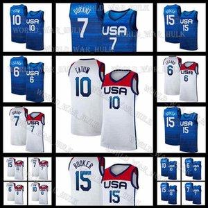 Jayson 10 Tatum Jersey Damian Devin Lillard Booker America Kevin USA 7 Durant United Basketball National 2021 Tokyo Olympics Summer States