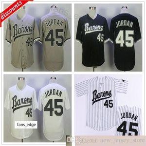 Michael Jodan # 45 버밍엄 남작 야구 유니폼 망 검정 흰색 회색 탑 스티치 영화 Michael Birmingham Barons 레트로 셔츠