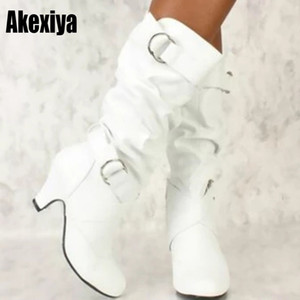 2021 Fashion Mid Calf Spike High Heels White Black Ridding Western Boots Street Goth Ladies Shoes Plus Size Womens Boot LJ210203