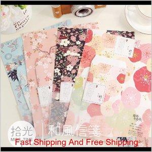 Großhandel-3 Umschläge + 6 Buchstaben Papier Japanischer Stil Romantische Kirschblüten Geschenk Umschlag / Papiertasche / Briefkissen HCJDL 1UHBK
