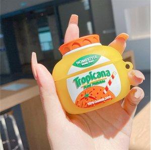 Airpods에 대 한 귀여운 오렌지 주스 헤드셋 케이스 3 커버 재미 있은 이어폰 충전 상자 보호 케이스 에어 포드 3 / PRO 2 1 SOFT