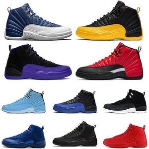 أعلى الحجر الأزرق 12 jumpman 12 ثانية أحذية رجالي كرة السلة الرجعية عكس الأنفلونزا لعبة جامعة الذهب الظلام كونكورد المدربين الرياضة أحذية رياضية الحجم 13