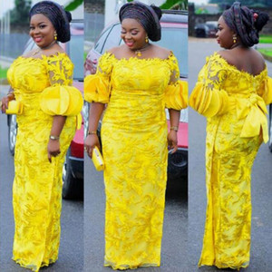 Plus Size Yellow Prom Dresses Puff Short Sleeves Nigerian Long Party Evening Gowns Lace Applique Bow abiye robe de soiree