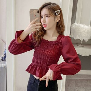 Chiffon shirt women's 2021 spring and autumn new style square neck trumpet sleeve design