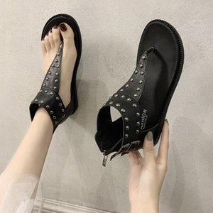 SAGACE 2020 NUEVO Moda Mujeres Sandalias Flip Flaops Zapatos Mujeres Sandalias Romanas Remache Playa Playa Verano Playa Señoras Cuero N5JH #