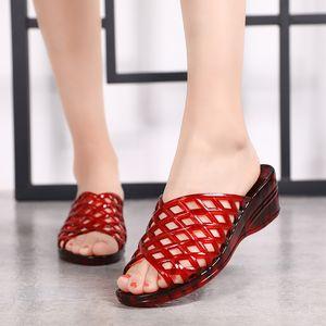 Women Beach Sandals Breathable Clogs Wedge Sandals valentine slippers summer slip on women Peep Toe shoes Sandalias Mujer 2020 Q0224