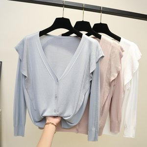 2020 Summer Knitted Cardigan Women Ruffles 3 4 Sleeve Loose Casual Cardigans Spring Short Style Sweater Female Tops Gray blue