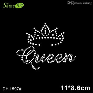 Free shipping queen with crown hot fix rhinestone transfer motifs DH1597#