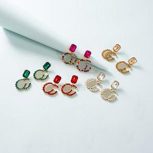 Письмо шаблон очарование креативных стразных серьги женщин мода ювелирные изделия красочные дизайн сережки рождественские подарок для девушки