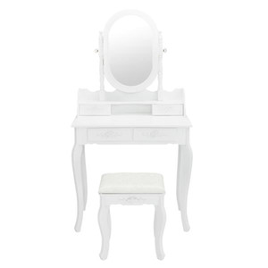 2021 Hot sale Simple Bedroom Light Luxury MDF Dressing Table Single Mirror Jewelry Cabinet Dresser White