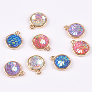 Bulk 100pcs Mermaid Scale Charms Resin Fish Dragon Scale Charms For Jewelry Making Necklace Earrings Free shipping