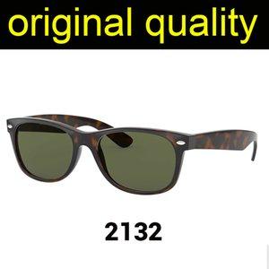 Raios de alta qualidade 2132 55mm óculos de sol homens mulheres óculos de sol real material de nylon com lentes de vidro óculos de sol
