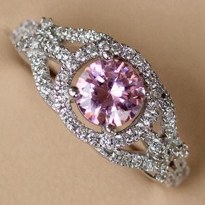 FLEURE ESME Luxury Best Sell Bijoux de mariage Bijoux pour Femmes Dropshipping Rose Cubic Zirconia Rhodium Rhodium R3206 Taille 6 7 8 9