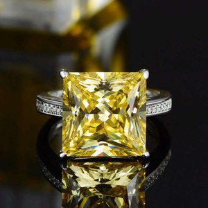 HBP Shipai jewelry straight Sterling Silver Luxury fashion Square zircon ring hot accessories
