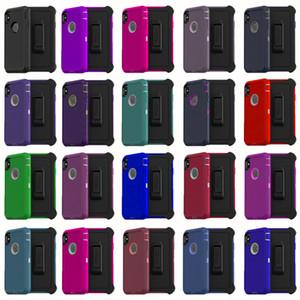 Pour iPhone 12 11 PRO XS XR MAX 8 7 6S Plus Coques Hybrid TPU Robot Crash AutoProof Etanche Defender Case Téléphone avec Clip