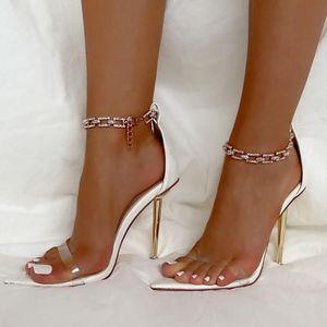 Сандалии женщины прозрачные летние сексуальные заостренные открытые пальцы с свадьбой свадебные туфли горный хрусталь цепь лодыжки