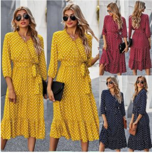 Size S-2XL k0000111 Burst Classic Dress Female Long Sleeve Fashion Maxi Size Wave Point Print Dresses Plus Spring And Summer