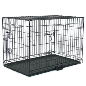 WACO 36in Dog Crate, Extra-Strong Double Door Folding Metal Dog Houses,Leak-Proof Plas Divider Panel Floor Protecting Kennel Black