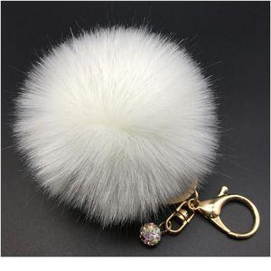 12 색 8cm 핸드백 토끼 귀여운 가방 라인 석 빈 솜털 토끼 모피 pom pom 공 키 체인 키를 찾아 세련된 qylcyj