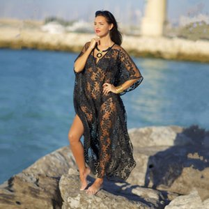2021 New Female Beach Swimsuit and Bikini for the Women Cover Up with Smock Loose Plus Size Lace Festival Geometric Cotton Pareo Tunic 3xon