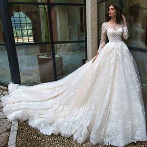 2021 Luxury Wedding Dresses A Line Jewel Long Sleeve Bridal Gowns With Lace Applique Sweep Train Plus Size Wedding Gowns