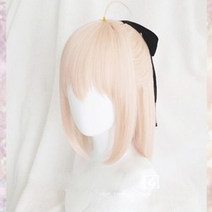 Anime Fate Grand Order Sakura Saber Okita Souji Wig Cosplay Costume Fate Go Women Short Synthetic Hair Halloween Party Wigs