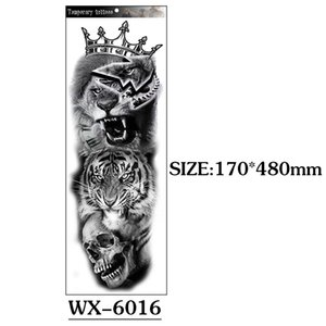 Exclusive for Cross-Border Full Arm Tattoo Sticker Full Arm Big Picture Lion Tiger Wolf Animal Tattoo Sticker Customizable Tattoo