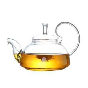 1pc 600ml resistente al calore con elevato manico fiore caffè in vetro teiera in fiore in fiore teiere di vetro cinese 250 s2