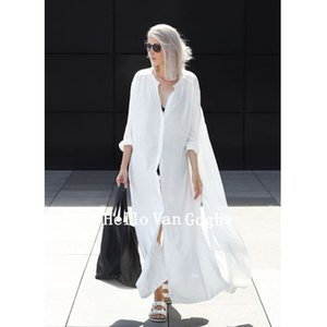 Shiyou four side open button self made gas field simple dress long loose large size shirt skirt