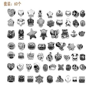 Antique Silver Plated Alloy Big Hole Charms Spacer Beads fit pandora bracelet DIY Jewelry Necklaces & Pendants charms Beads